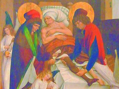Die Heiligen Cosmas und Damian bei der Amputation eines Beins, assistiert von Engeln. Das Werk wird dem Meister des Stettener und Schnaiter Altarretabels zugeschrieben (16. Jahrhundert) und befindet sich aktuell im Landesmuseum Württemberg. Wikipedia