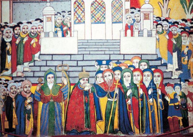 Nicht immer geht es zwischen Muslimen und Christen so friedlich zu wie hier auf einem Fresko in einem Kloster in Äthiopien. Selbst wo man gemeinsam dieselben Begriffe nutzt, z. B. Barmherzigkeit, wird nicht selten sehr verschiedenes darunter verstanden. F