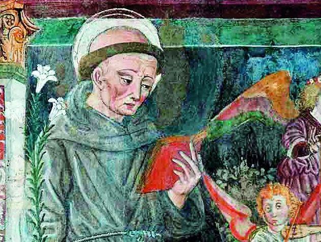 Ein Fresko des 16. Jahrhunderts aus der Basilika Santa Maria degli Angeli bei Assisi zeigt Antonius mit seinen gewohnten Attributen: der Bibel und der Lilie. M. Bonotto / Archiv MSA
