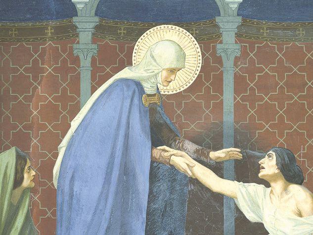 Die heilige Elisabeth, Fresko von G. Fugel (1905). Foto: G. Deganello, Archiv MSA