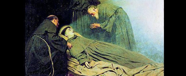 Dieses Gemälde von Pietro Pajetta (1845-1911) aus dem Jahr 1907 befindet sich in der Kirche von Arcella. Dort starb der berühmte Prediger und Wundertäter am 13. Juni. G Deganello, Archiv MSA